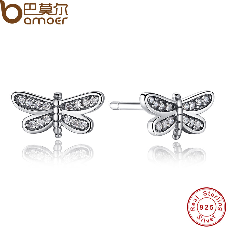 925 Sterling Silver Dragonfly Stud Earrings Clear CZ