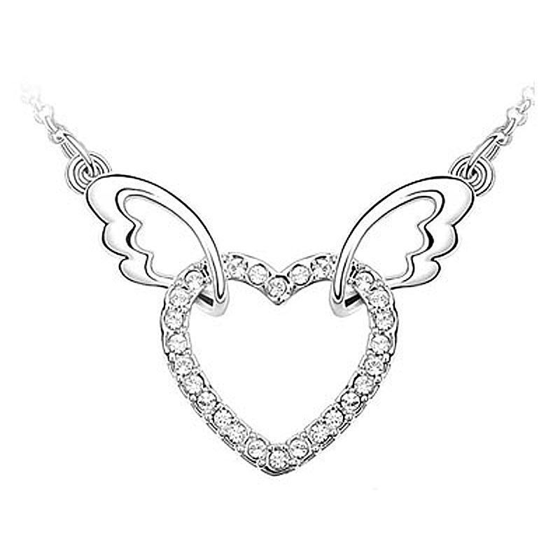 Angel Wing Heart Austrian Crystals Necklace