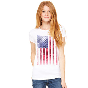 Womens American Flag Skull Cotton T-shirt