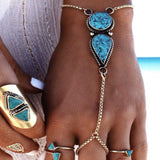 Hand Chain Bracelet Antique Silver Blue Imitation Gem Stone 19cm long 1 PC