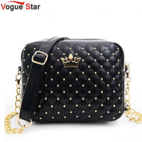 Vogue Star Women Messenger Bag Rivet Chain Shoulder Bag PU Leather