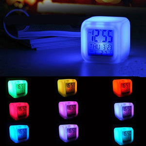 Multi-function 7 Color Changing Digital Alarm Clock LED Alarm Thermometer Clock Cube