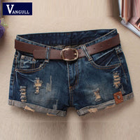 Women Vintage Denim Shorts Skull Patch Ripped Without Belt