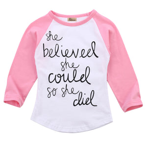 1-6T Girls Long Sleeve O-Neck T-shirt