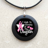 Breast Cancer Awareness Pendant I Walk in Memory of Pink Ribbon Necklace