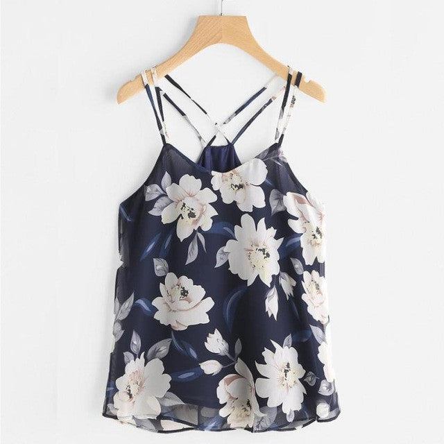 Chiffon Tank Tops Womens Sleeveless Halter neck Tank Crop Tops