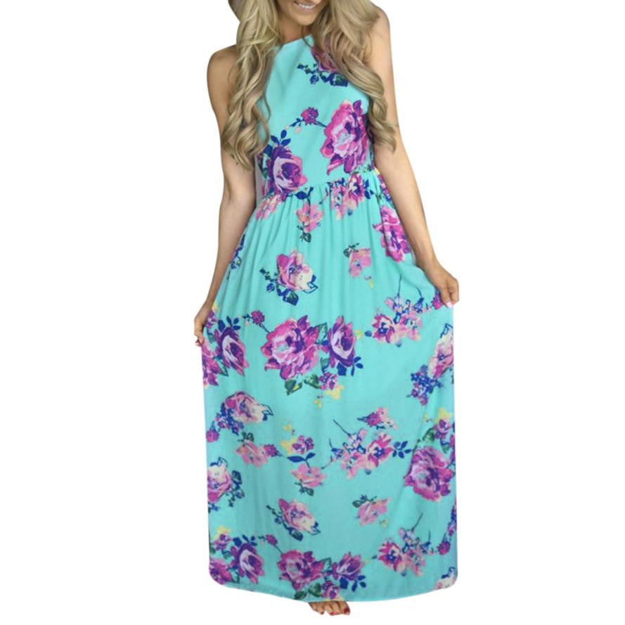 dedaefbcd28 Womens Summer Maxi Dresses Beach Boho Green Halter Neck Floral Print Dress
