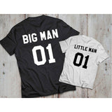 Father & Son Matching Outfit Big Man 01 Little Man 01  Printed Short Sleeved T-shirt