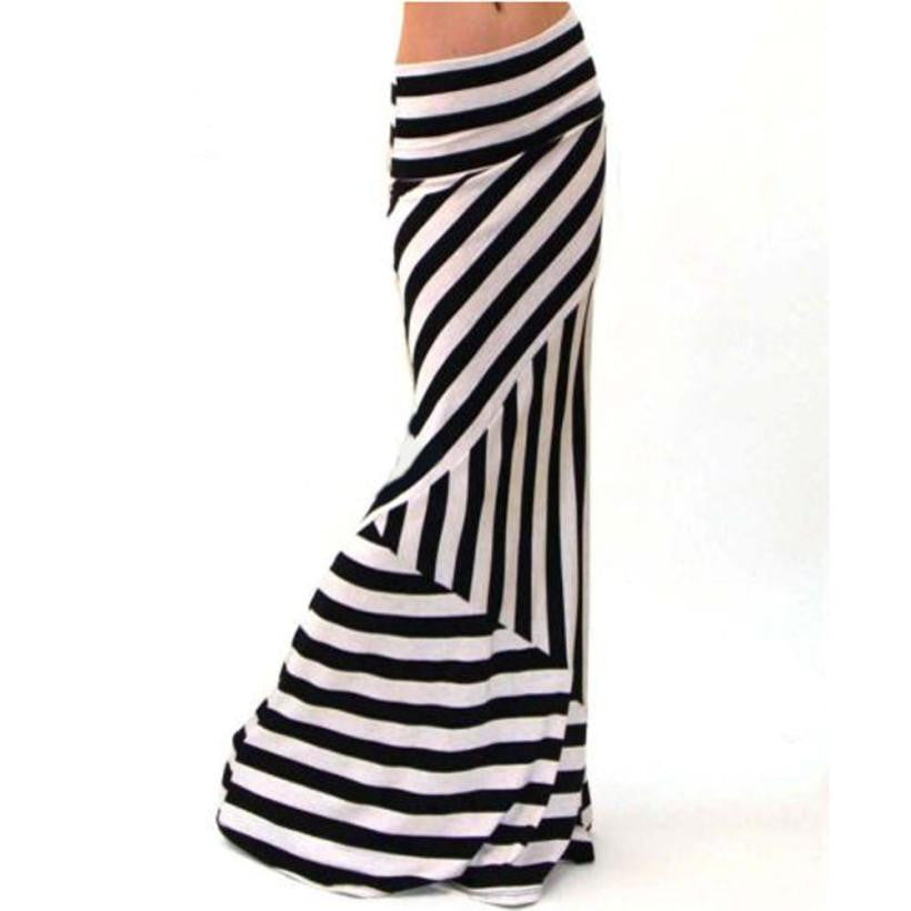 Asymmetric Striped Women Skirt Dropped Waist Fold Over Stretch Long Maxi Skirt