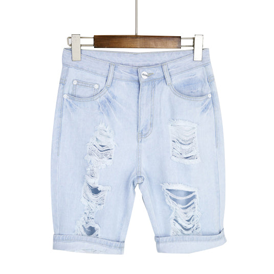 3146faaf56 Women's Ripped Pockets Knee Length Denim Shorts | Northern Sun Boutique