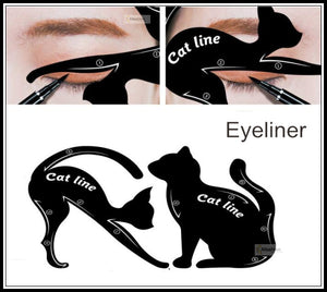 2pcs Cute Cat Eyeliner Stencil Kit Eye Brow Eye Shadow Frames