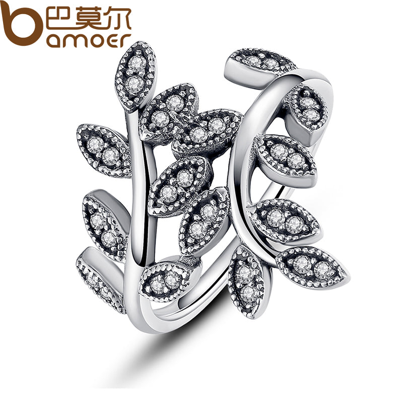 925 Sterling Silver Sparkling Leaves Ring With Cubic Zirconia