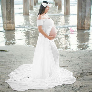 Maternity Chiffon Dresses Off Shoulder White Dress