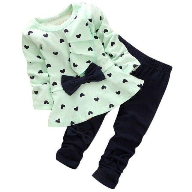 Baby Girls clothing Sets Heart-shaped Print Bow Cute 2PCS T shirt + Pants 3 Colours