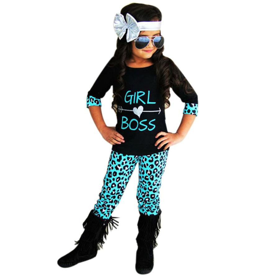 Girls Outfits Girl Boss Printed Shirt + T - Shirt Leopard Pants