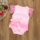 Girls Bowknot Lace Princess Romper