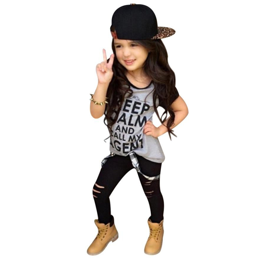 Girls Outfit Clothes Print T-shirt + Long Pants Trousers