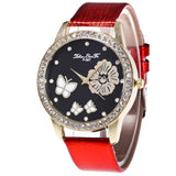 Women Watch Leather Belt With Simulated Quartz Female Round Watch