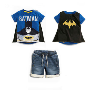 Batman and Spider-Man Short Sleeve Shirt with Removable Cape and Denim Pants