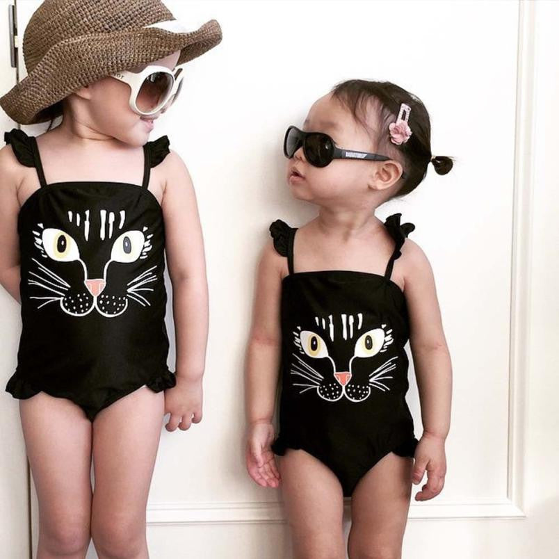 Girls One Piece Print Cute Cat Swimsuit