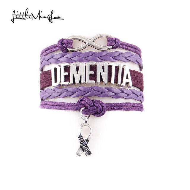 Infinity Dementia Awareness Ribbon Hope Charm Bracelet