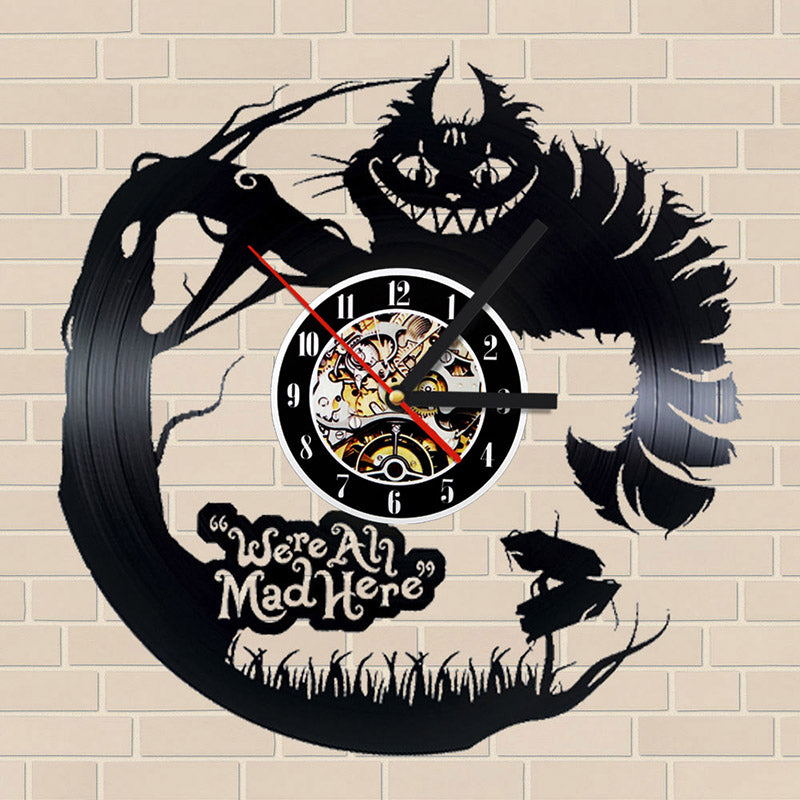 Alice in Wonderland 3D Vinyl Record Clock Creative CD Record Clock