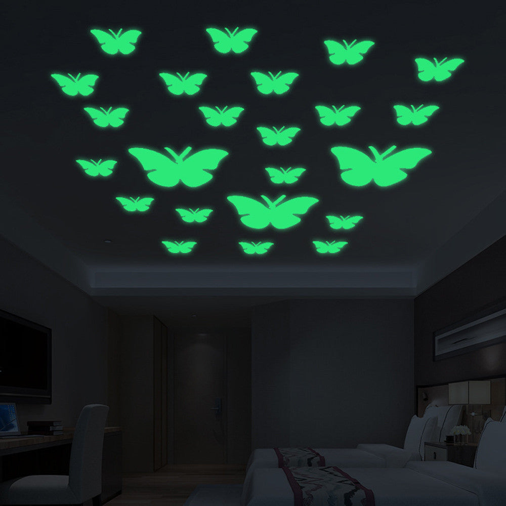 12PCs Luminous Butterflies Wall Sticker Glow in the Dark Art