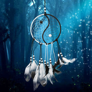 Yin Yang White & Black Feathers Dream Catcher