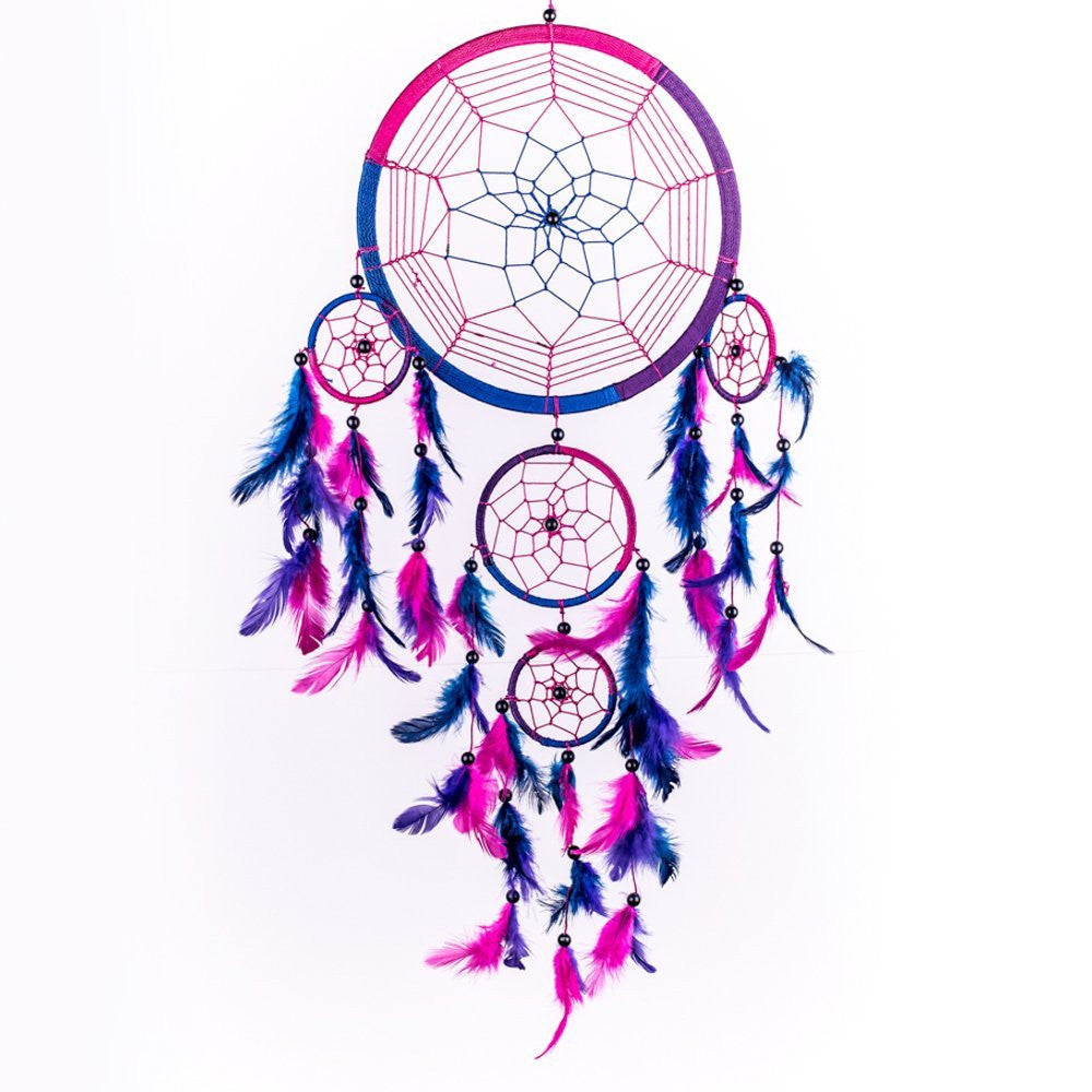 Circular Pink & Purple Feather Dream Catcher