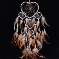 Brown Heart Feather Dream Catcher