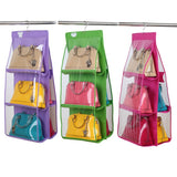 6 Pocket Large Clear Purse Handbag Storage Organizer