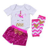 3Pcs Unicorn Girls First Birthday Clothes Sets Short Sleeve Romper + Sequins Shorts + Leg Warmers
