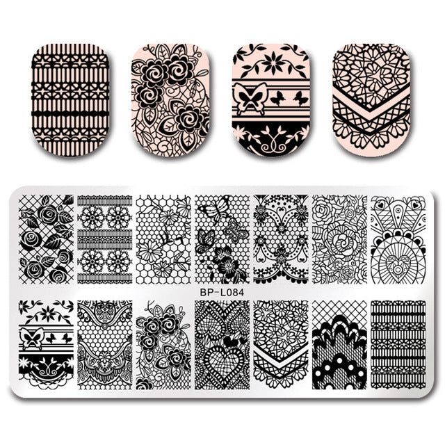 Nail Art Rectangle Stamping Template