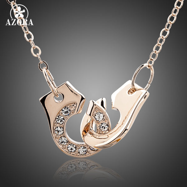 Hand In Hand Rose Gold Stellux Austrian Crystal Pendant Necklace