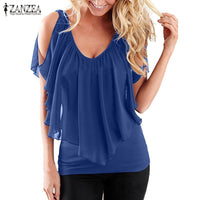 Chiffon Off Shoulder V Neck Blouses Plus Size Available