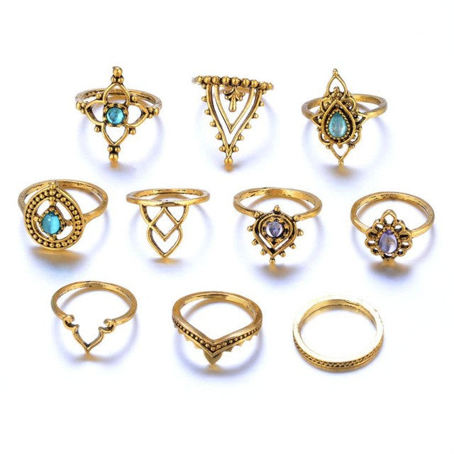 10pcs/Set Women Bohemian Vintage Silver Stack Rings Set
