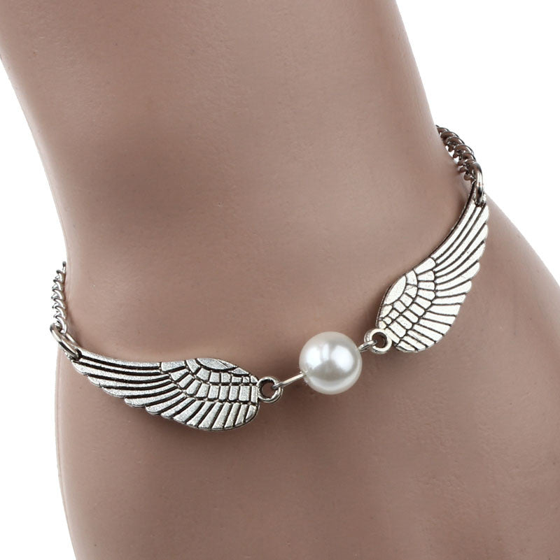 Silver Infinity Retro Pearl Angel Wings Bracelet