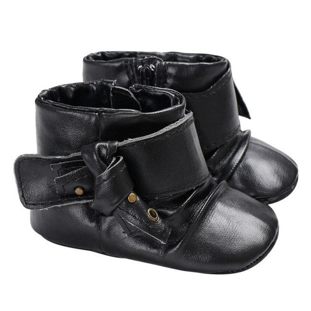 Girls Pink Black Zipper Pu Leather Black Buckle Ankle Boots