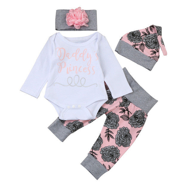 Girls Daddy's Princess Long Sleeve Romper + Pants + Hat + Headband