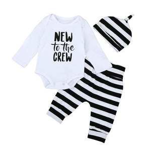 Boys New To The Crew Long Sleeve Romper + Pants + Hat 3pcs