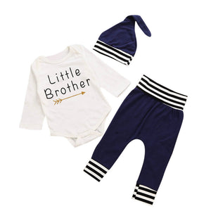 Boys Little Brother Long Sleeve Romper + Pants + Hat 3PCS