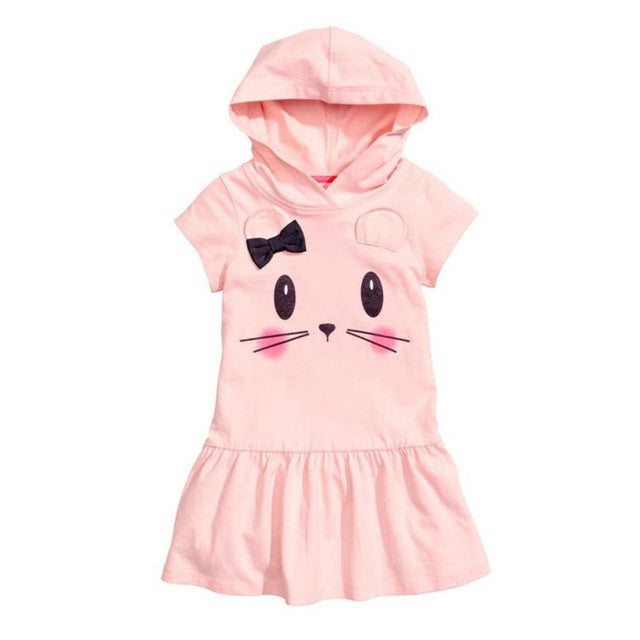 Girls Hooded Cartoon Dress