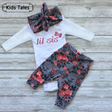 Girls 3pcs Outfit Long Sleeve Romper + Pants + Headband