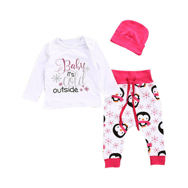 Girls Baby It's Cold Outside Top + Pants + Hat 3PCS