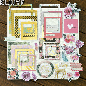 32pcs Love Flower Frames Cardstock DIY Scrapbooking Photo Album