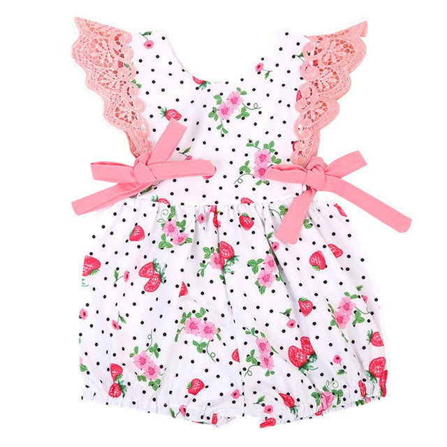 Girls Strawberry Lace Sleeve Romper