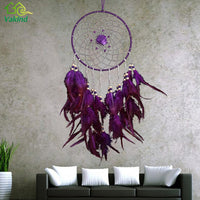 Purple Feather Handmade Dreamcatcher with Beads