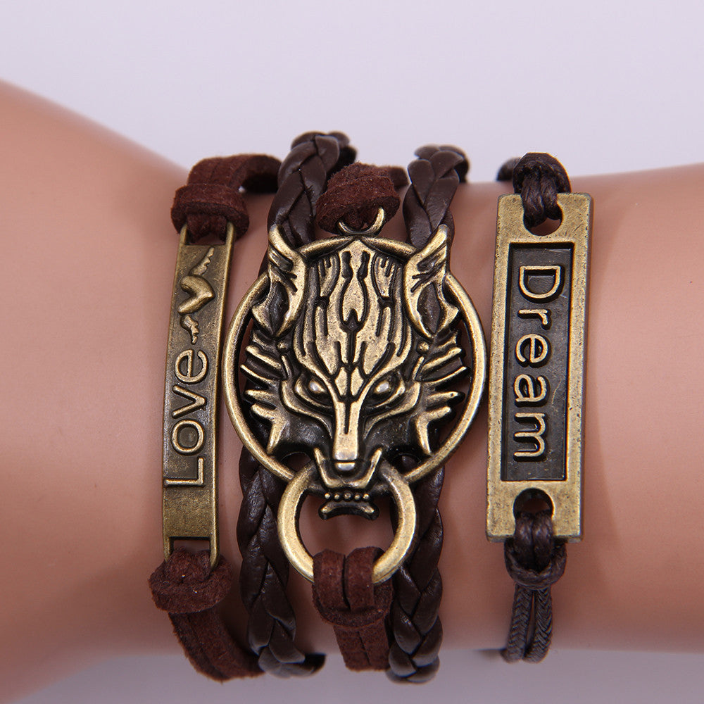 Fashion Braided Rope Multilayer Leather Womens Bracelet