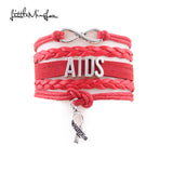 Infinity AIDS Awareness Hope Ribbon Charm Bracelet