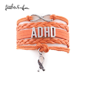 Infinity ADHD Ribbon Charm Awareness Bracelet